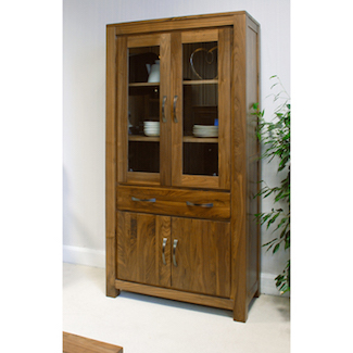 Dhaka Walnut Large Glazed Bookcase