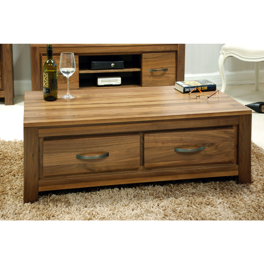 Coffee Table With Drawers: Dhaka Walnut Four Drawer Coffee Table