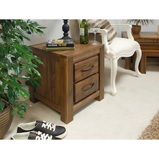 Dhaka Walnut 2 Drawer Lamp Table