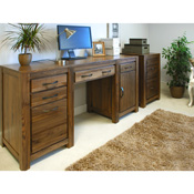 Dhaka Walnut Twin Pedestal Desk