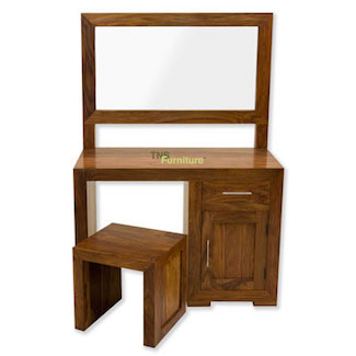 The uk s 1 for stunning reclaimed teak wood furniture - Tns Furniture Cube Dressing Table Mirror Amp Stool