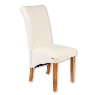 Cream Leather Skirt Dining Chair